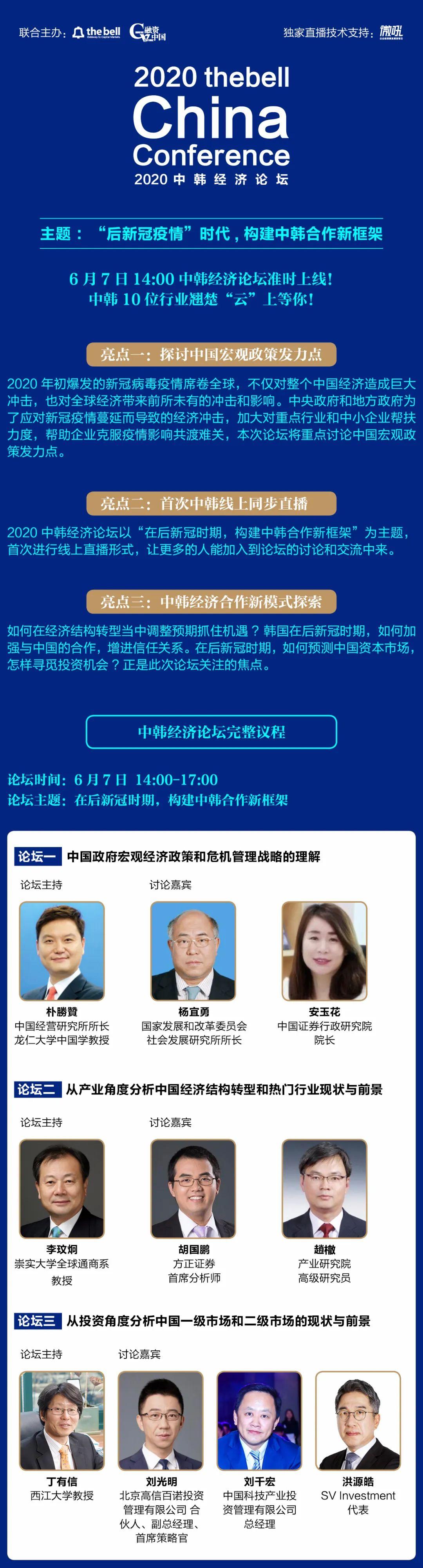 融资中国2020(第九届)中韩经济论坛6月7日中韩同步线上直播